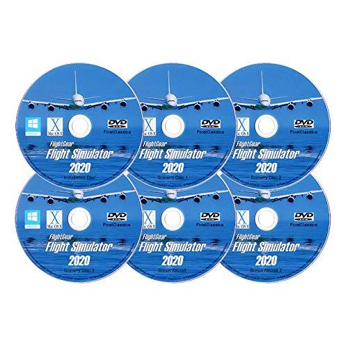 Flight Simulator 2020 X DELUXE Edition Flight Sim FlightGear 6 Disc DVD CD Set For Microsoft Windows 10 8 7 Vista PC & Mac OS X - 600+ Aircraft & FULL Worldwide Scenery!