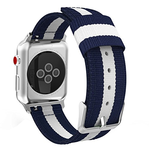 MoKo Compatible Band Replacement for Apple Watch 38mm 40mm Series 4/3/2/1, Fine Woven Nylon Adjustable Replacement Band Sport Strap - Blue & White (Not fit 42mm 44mm Versions)
