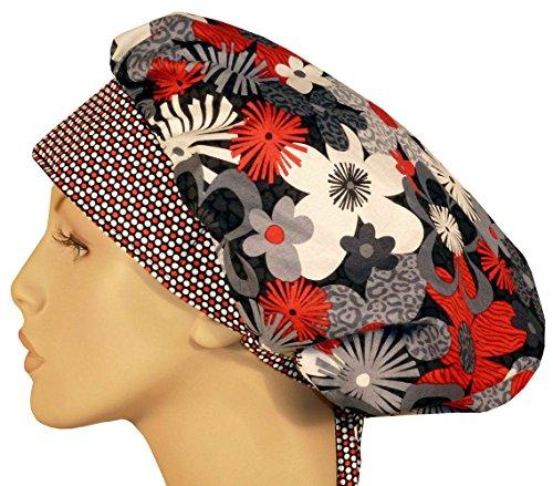 Designer Bouffant Medical Scrub Cap - Animal Print Flowers