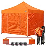 Cheap AbcCanopy Commercial 10×10 Ez Pop up Canopy, Party Tent, Fair Gazebo with 6 Zipped End Sidewalls and Roller Bag Bonus 4x Weight Bag (orange)