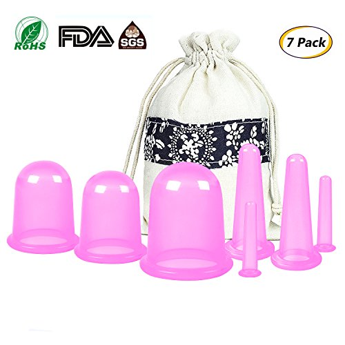 Anti Cellulite Cupping Therapy Set 7Pcs Silicone Vacuum Massage Cups - Chinese Cupping Kit for Body and Facial Massager for Adults Home Use (Cups Cellulite Anti)