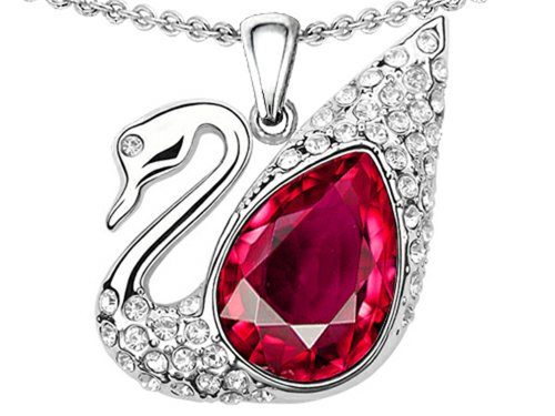 Star K Love Swan Pendant Necklace with Pear Shape Created Ruby Sterling Silver