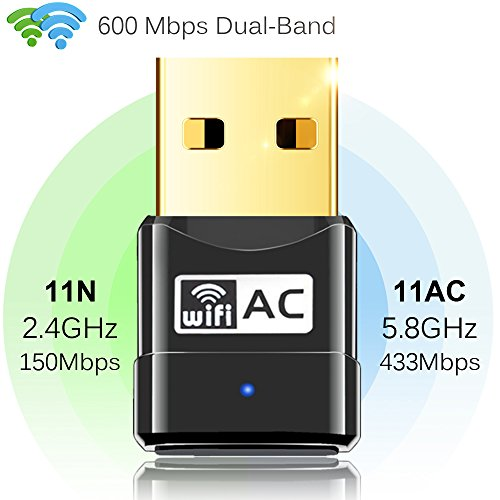 Anmier WiFi Adapter AC600Mbps Wireless USB Adapter Dual Band 5G/2.4G Mini USB Network Lan Card 802.11ac Wireless USB WiFi Network Dongle Adapter Support Windows XP/Vista/7/8.1/10/Mac OS X 10.4-10.11 - Emachines Xp Windows
