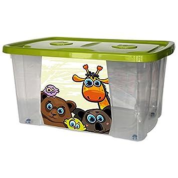 mondex PLS4949-106 - Bandeja de almacenaje con tapa y ruedas para niño, diseño jungla, plástico, 59 x 39 x 30 cm: Amazon.es: Hogar