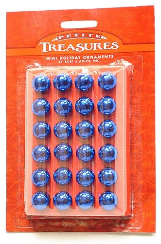 (Kurt Adler 24ct Petite Treasures Shiny Blue Mini Glass Ball Christmas Ornaments 0.6