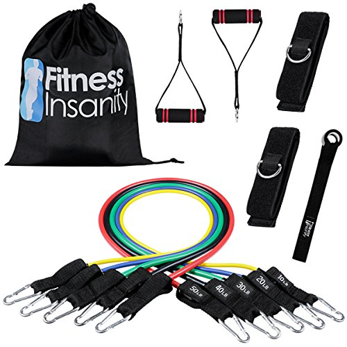 Veick Resistance Bands Set - Include 5 Stackable Exercise Bands with Door Anchor Attachment, Legs Ankle Straps, Portable Carry Bag and Bonus eBook - 100% Life Time Guaranteed