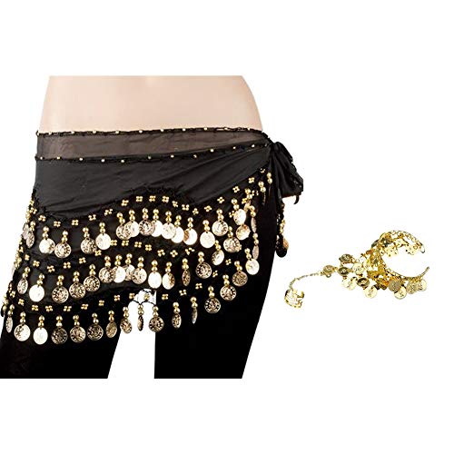 Bellylady Gold Coins Belly Dance Hip Scarf, Wholesale Dance Belt & Gypsy Bracelet-Black ()