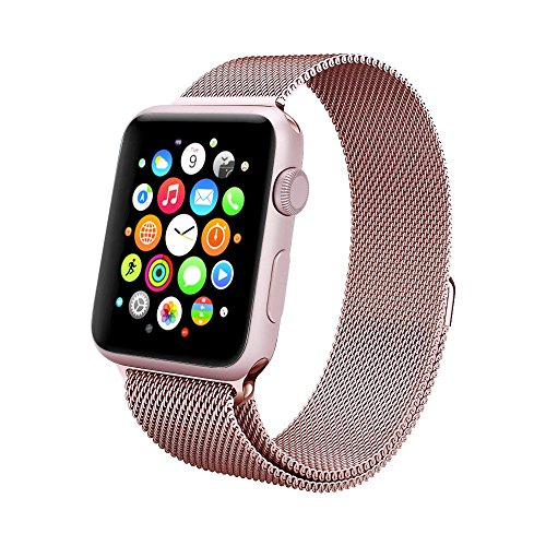 Apple Watch Band , Swees 42mm Milanese Loop Stainless Steel Bracelet Strap Replacement Wrist Band with Unique Magnet Lock for Apple Watch Series 2 / Series 1, No Buckle Needed, Rose Gold