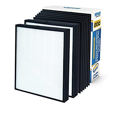 Premium 2 True HEPA Replacement Filter Pack with 6 Activated Carbon Pre Filters To Stop Smoke Odor Dust for Blueair 200 / 300 Series Models 201, 203, 205, 215B, 250E, 270E, 303 Air Purifiers by VEVA