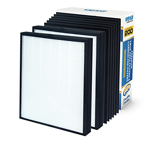 Series Smokestop Replacement (Premium 2 True HEPA Replacement Filter Pack with 6 Activated Carbon Pre Filters To Stop Smoke Odor Dust for Blueair 200 / 300 Series Models 201, 203, 205, 215B, 250E, 270E, 303 Air Purifiers by VEVA)