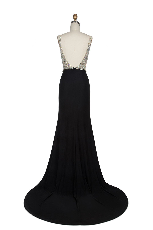Miss Chics Women Side Slit V-neck Backless Beaded Prom Dresses Evening Dresses(10,Black) by Miss Chics (Image #4)