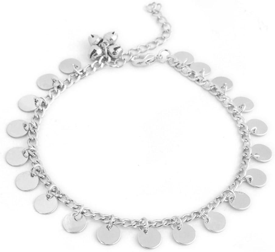 Argent LLZIYAN Paillettes Tassel Bell Bracelet Cha/îne Pied De Plage De La Mode Bijoux Accessoires pour Les Femmes