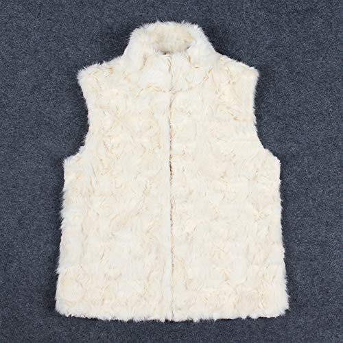JOFOW Womens Solid Faux Fur Vest,Stand Collar Sleeveless Cardigans Fuzzy Warm Chic White Jacket Outwear (S,White) by JOFOW (Image #3)