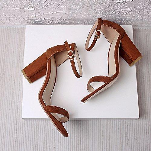 AJUNR Alla Moda Sandali fascette Calzature 36 Da toe Donna tacco rugiada alta con 8cm scarpe scanalato ad Bold marrone t4Frn1t