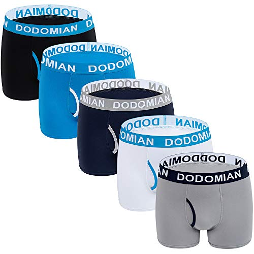 DODOMIAN Mens Underwear Boxer Briefs Breathable Cotton Mens Boxer Briefs Open Fly Underwear 5 Pack