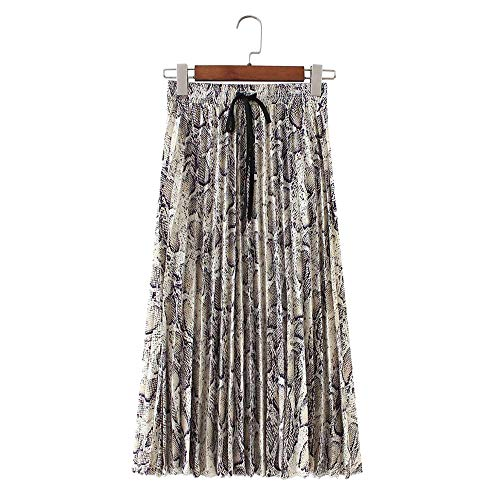 NDJqer Women Snake Print Pleated Skirt Faldas Drawstring Tie Elastic Waist Ladies Mid Calf Skirts, M