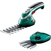 Bosch Isio - Set de tijeras cortacésped y arreglasetos incluye tijeras cortacésped, tijeras arreglasetos, protector de cuchilla, estuche de neopreno (batería 3,6 V, 1,5 Ah, con cargador)