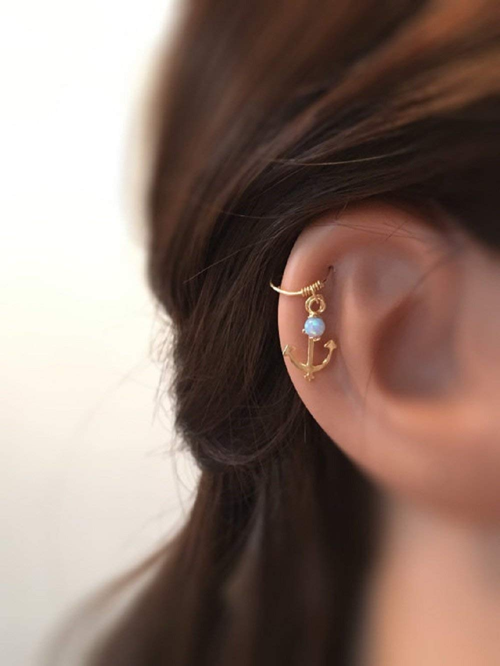 Silver//Gold//Rose Gold Opal Cartilage Earring Cartilage Piercing Anchor Cartilage Hoop Helix Ring