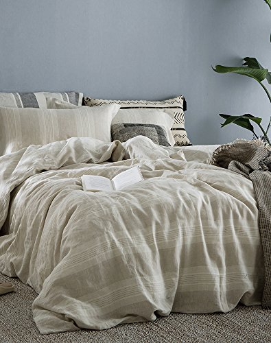 51Srp6VyGWL - Merryfeel 100% Linen Duvet Cover Set - King - Natural