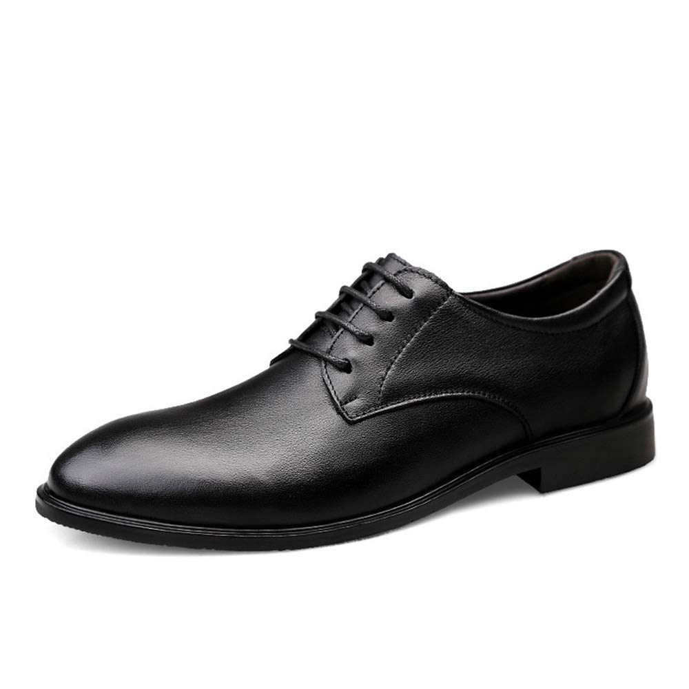 Black Men's Leather shoes Leather Tie Business Men's shoes Pointed Casual shoes Fashion (color   Black, Size   41)
