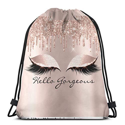 Rose Gold Glitter Glam Makeup Lashes SleepDrawstring Backpack Bag Lightweight Gym Travel Yoga Casual Sackpack Shoulder bag for Hiking Swimming beach