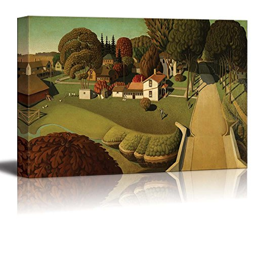 Wall26 - The Birthplace of Herbert Hoover, West Branch, Iowa by Grant Wood - Canvas Print Wall Art Famous Painting Reproduction - 24
