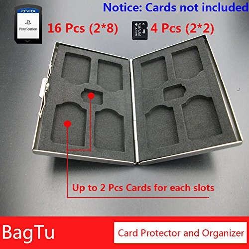 20 in 1 PS Vita Game & Memory Card Case Folio Holder with Labels,BagTu Metal Double Layer Protector Storage Box for PSV Cards (Box Memory Cards)