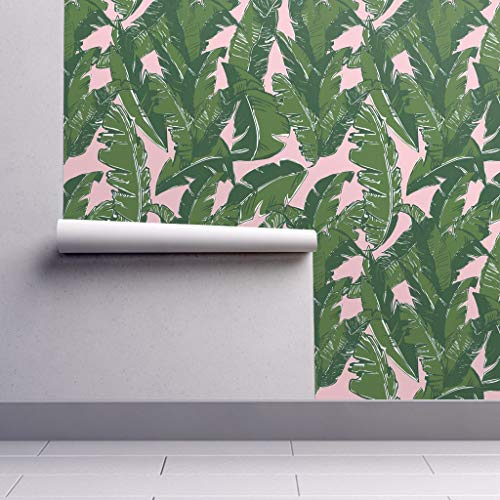 Peel-and-Stick Removable Wallpaper - Banana Leaf Banana Leaf Tropical Botanical Pink and Green Preppy Palm by Elliottdesignfactory - 24in x 96in Woven Textured Peel-and-Stick Removable Wallpaper Roll (Wallpaper Preppy)
