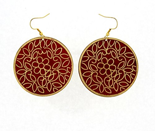 "Price comparison product image Handmade Earrings - Round Drop Hand Painted Red & Gold Flowers Brass Earrings (approx.2.4"" drop, diameter 1.75"")"