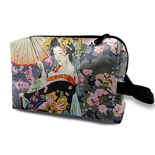(Pretty Geisha In Kimono Traditional Oriental Costume Makeup Portable Multifunction Travel Pouches Woman Cosmetic Storage Bags Coin Purse Makeup Bag Pencil)