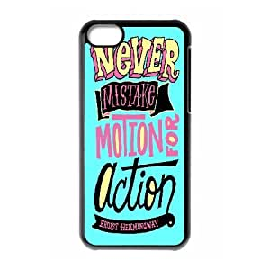 [Funny Design] Never Mistake Motion for Action Case For iPhone 5C, iPhone 5C Case Hipster Protective For Women {Black}