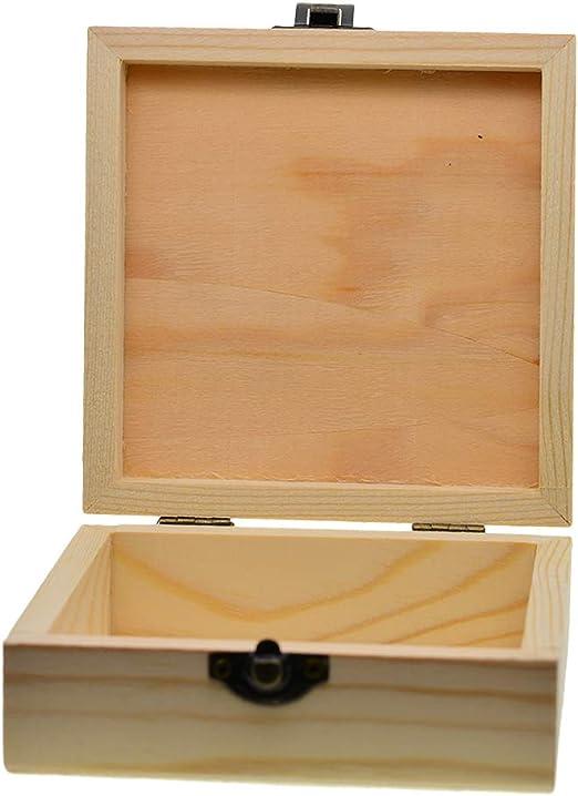 Bonarty Caja De Madera Lisa Caja De Memoria con Bisagras De Madera, Caja De Joyería, Caja De Caja De Almacenamiento De Madera con Decoración De Tapa para Muje: Amazon.es: Hogar