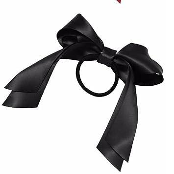 1Pcs Beauty Headwear Girls Satin Ribbon Bow Hair Band Rope Ponytail Holder  Black 5471294d676