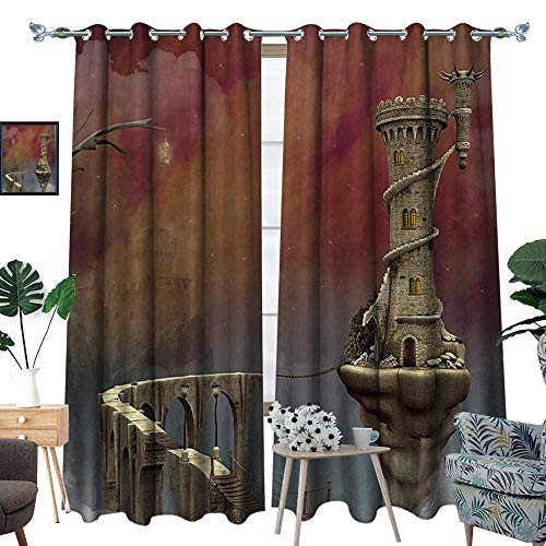 "luvoluxhome Thermal Insulated Blackout Curtain Light Blocking Curtains for Living Room/Bedroom Tale Medieval Castle High Clouds Foggy Mist Air Magical Scenery Tan 96.5""X108"""