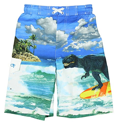 Ocean Pacific Boys T-Rex Dinosaur Surfing Swim Shorts - 2XL (Dinosaur Swim Trunks)