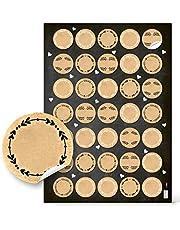 Logbuch-Verlag Kleine ronde blanco kraftpapier sticker natuur bruin beige 3,2 cm naamsticker klein geschenk gastgeschenk Kerstmis adventskalender cijfers