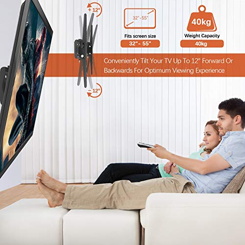 PUTORSEN® Soporte TV de Pared Articulado Inclinable, Soporte de Pared TV para Pantallas de 32-55 Pulgadas LCD OLED, VESA Máxima de 400x400 mm, Soportar 40 kg