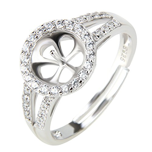 NY Jewelry 1 Piece 925 Sterling Silver Adjustable Pearl Ring Mounting with Zircon