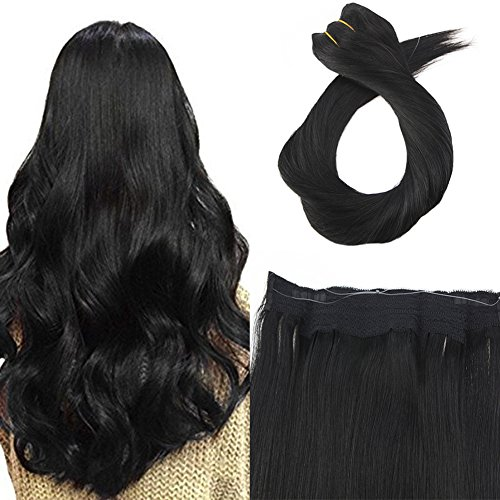 Moresoo Wire Hair Extensions One Piece Human Hair Extensions 22 Inch 100g Per Pack Jet Black #1 Brazilian Human Hair Extensions Halo Remy Human Hair Extensions Double Weft Hair