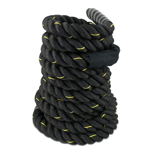 "Cheap Smartxchoices Black Heavy Battle Rope for Exercise Training Fitness 1.5""Width 30ft Length Workout Ropes Home Gyms Abdominal Muscle Biceps Abs Metabolic Protective Nylon Cover (1.5""30ft)"