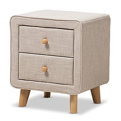 Baxton Studio IsabelleMid-Century Beige Linen Upholstered 2-Drawer Nightstand, Nightstand, Beige - Mid-Century nightstand Polyester fabric upholstery Two drawers, each with natural oak buttons drawer pulls - nightstands, bedroom-furniture, bedroom - 51Srrtc0pWL. SS400  -