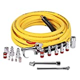 WYNNsky 3/8''×25ft Air Hose with 17 Pieces Air Compressor Accessories Set,1/4''NPT Quick Connect Air Fittings,Air Blow Gun Kit,1/4''NPT Air Chuck and Tire Gauge