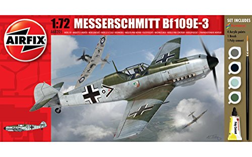 Airfix A68205M Messerschmitt BF109E-3 1:72 Military Aircraft Small Starter Plastic Model Gift Set (Small Model Airplanes)