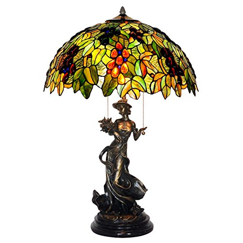 Bieye L10442 18-inches Grapes Tiffany Style Stained Glass Table Lamp with 100% Brass Beautiful Girl Base