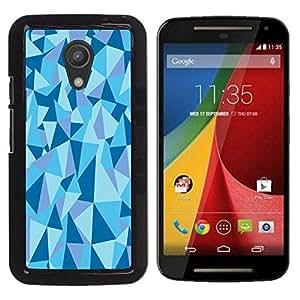 Be Good Phone Accessory // Dura Cáscara cubierta Protectora Caso Carcasa Funda de Protección para Motorola MOTO G 2ND GEN II // Geometrical Structure Pyramid Triangle Blue