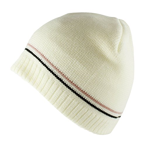 Morehats Corduroy Lined Daily Knit Warm Winter Beanie - White Corduroy Lined Hat