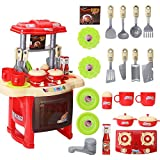 AutoLover Kids Kitchen Toy, Kitchen Playset Simulation Kitchen Cookware Pretend Role Play Toy with Music Light(Red)