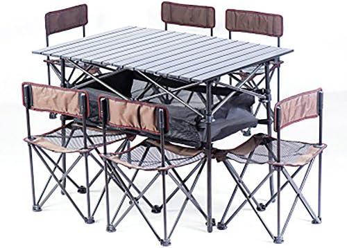 KOKR Tabla Que Acampa Portable De La Mesa Plegable con 6 ...