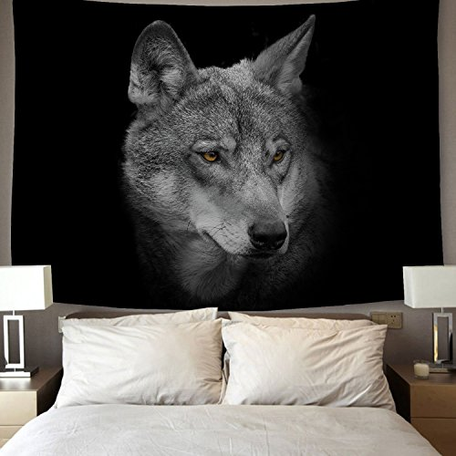 YSJ Home Decor Galaxy Wolf Tapestries Running Wolf Animal Wall Art Tapestry Living Dorm Beach Throw Tapestries Wall Hanging Colorful (Gray Wolf, 230x180 cm / 90x70 inches)