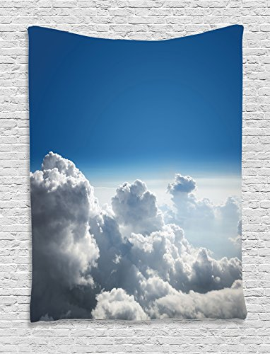 Ambesonne Apartment Decor Collection, Sky and Cloud Picture from Above the Clouds Holiday Traveling Scenic Picture, Bedroom Living Room Dorm Wall Hanging Tapestry, White Blue